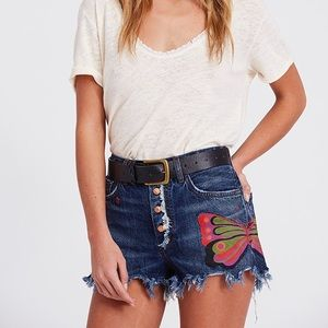 Free People Butterfly Blue Denim Shorts Size 26